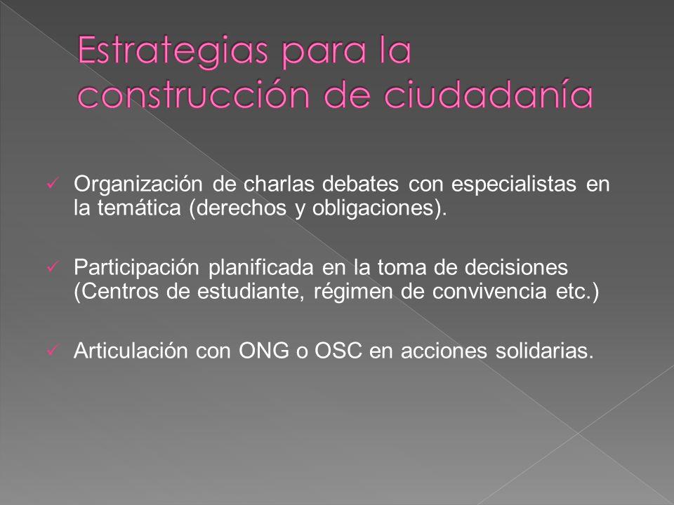 Organización de charlas debates con especialistas en la temática (derechos y obligaciones). Participación planificada en la toma de decisiones (Centro