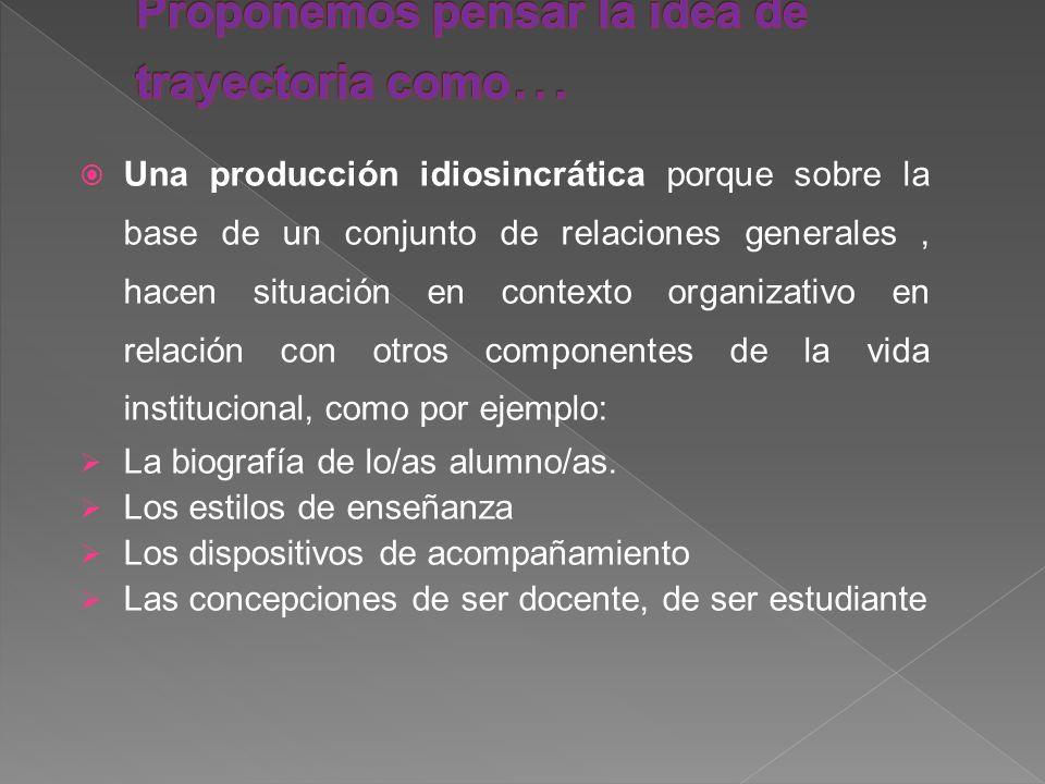 Una producción idiosincrática porque sobre la base de un conjunto de relaciones generales, hacen situación en contexto organizativo en relación con ot