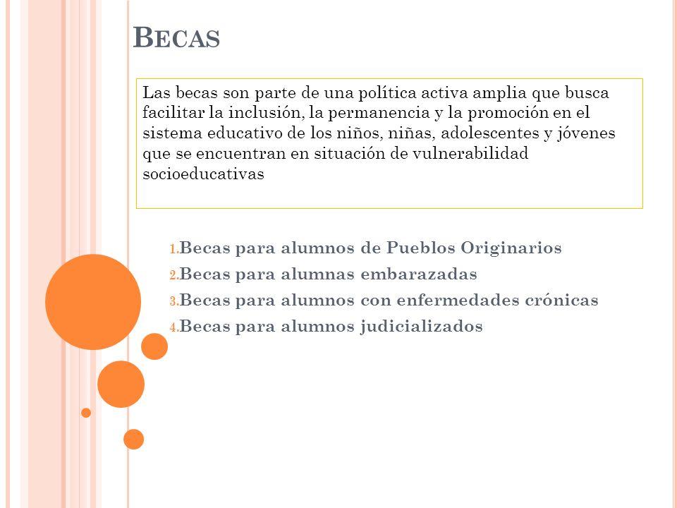B ECAS 1. Becas para alumnos de Pueblos Originarios 2. Becas para alumnas embarazadas 3. Becas para alumnos con enfermedades crónicas 4. Becas para al