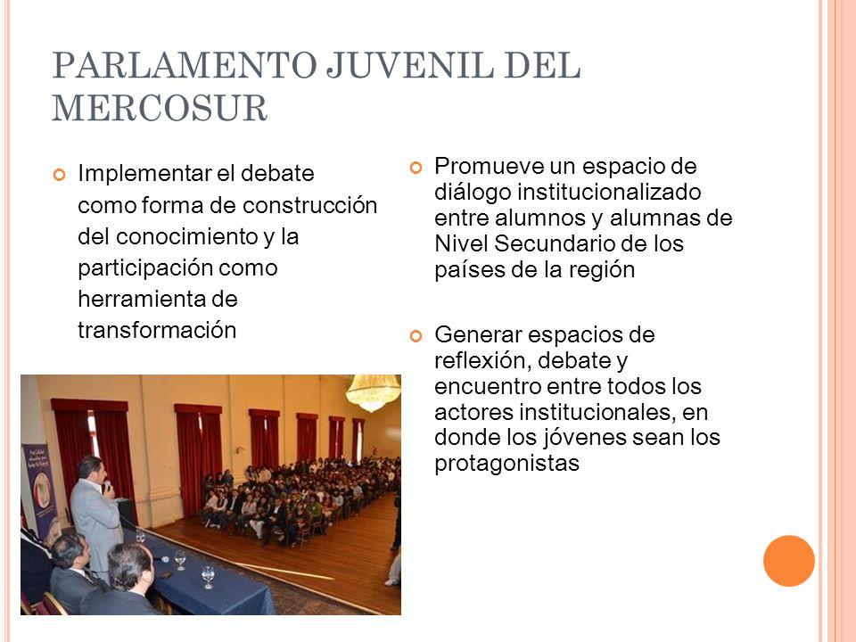 PARLAMENTO JUVENIL DEL MERCOSUR Implementar el debate como forma de construcción del conocimiento y la participación como herramienta de transformació