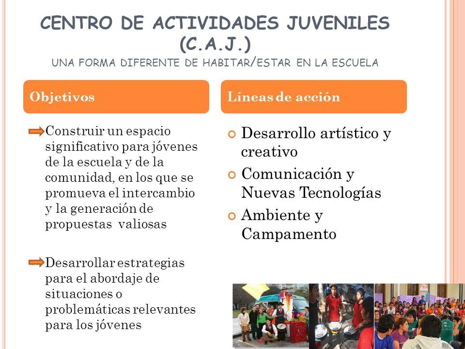CENTRO DE ACTIVIDADES JUVENILES (C.A.J.) UNA FORMA DIFERENTE DE HABITAR / ESTAR EN LA ESCUELA Construir un espacio significativo para jóvenes de la es