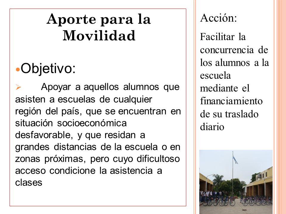 Acción: Facilitar la concurrencia de los alumnos a la escuela mediante el financiamiento de su traslado diario Aporte para la Movilidad Objetivo: Apoy