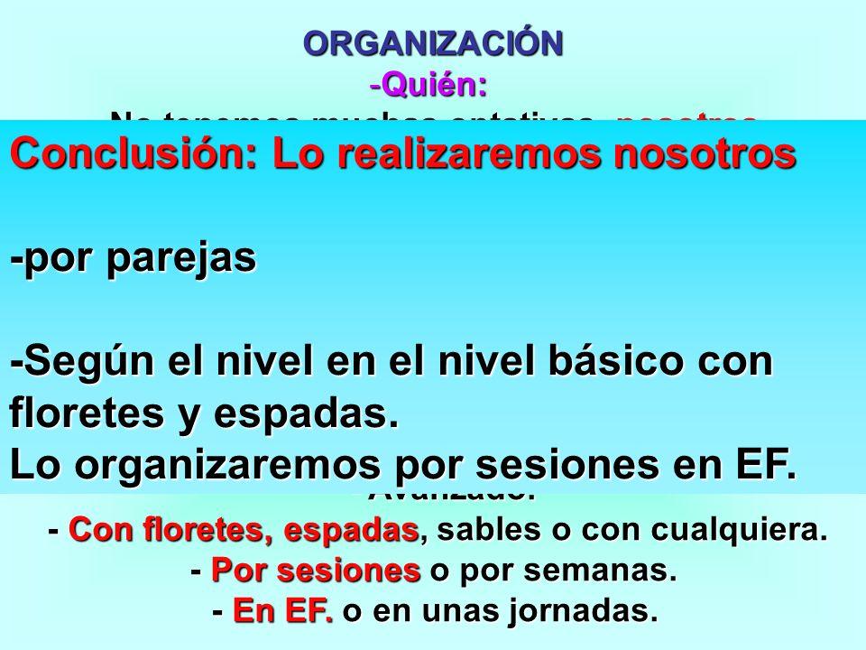 ORGANIZACIÓN -Quién: -No tenemos muchas optativas, nosotros. - Cómo: - Por grupos, por parejas o individual. - Por grupos, por parejas o individual. -