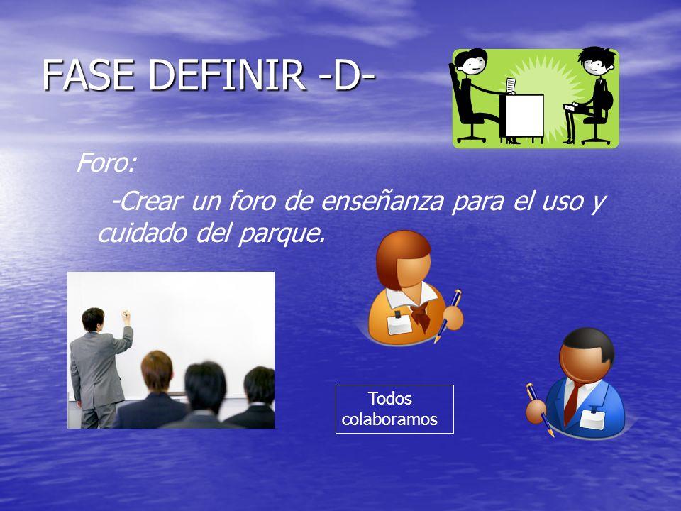 FASE DEFINIR -D- Foro: -Crear un foro de enseñanza para el uso y cuidado del parque. Todos colaboramos