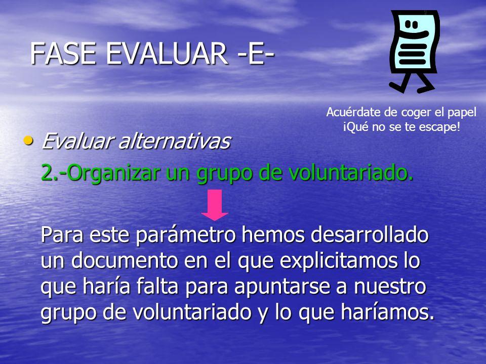 FASE EVALUAR -E- Evaluar alternativas Evaluar alternativas 2.-Organizar un grupo de voluntariado. Para este parámetro hemos desarrollado un documento