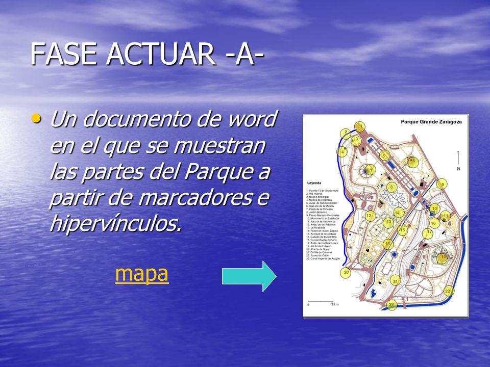 FASE ACTUAR -A- Un documento de word en el que se muestran las partes del Parque a partir de marcadores e hipervínculos. Un documento de word en el qu