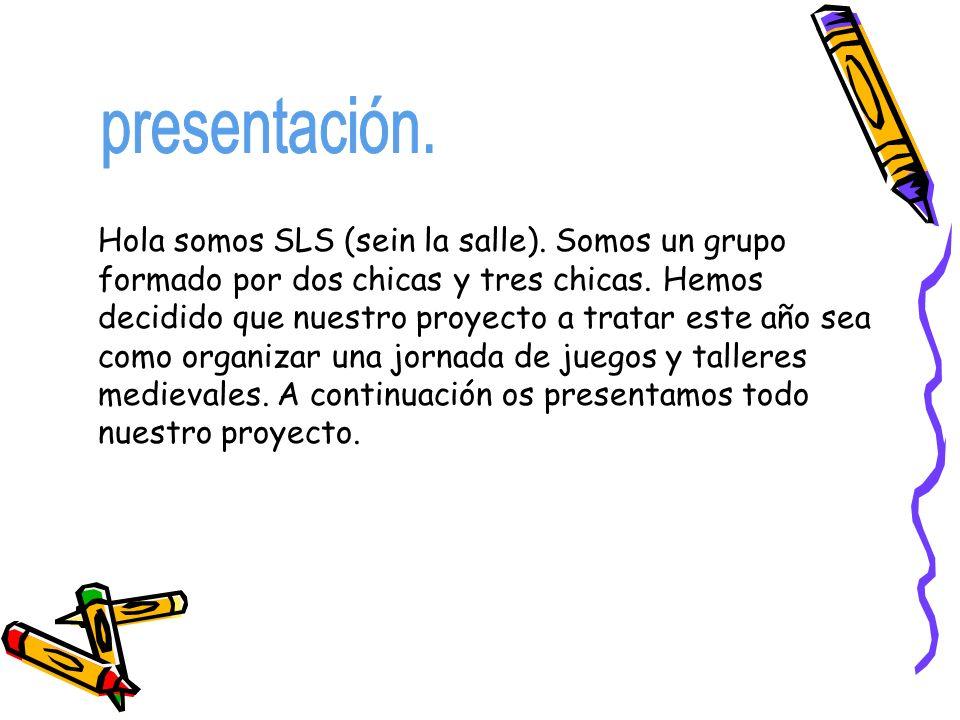 Hola somos SLS (sein la salle). Somos un grupo formado por dos chicas y tres chicas. Hemos decidido que nuestro proyecto a tratar este año sea como or