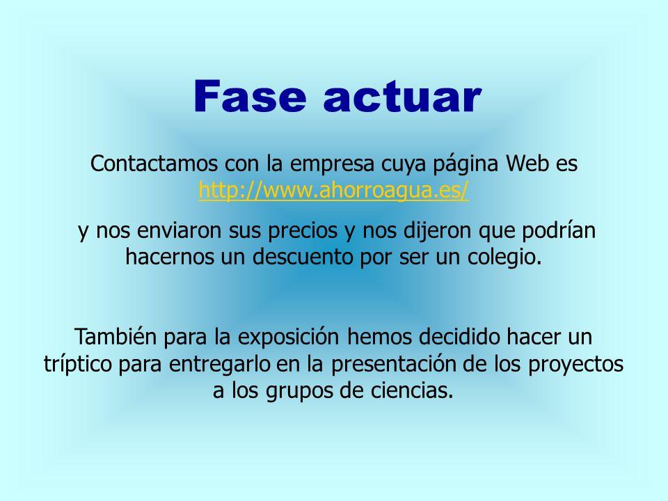 Fase actuar Contactamos con la empresa cuya página Web es http://www.ahorroagua.es/ http://www.ahorroagua.es/ y nos enviaron sus precios y nos dijeron