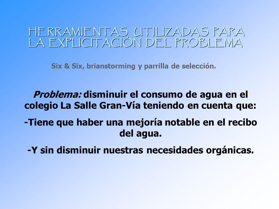 HERRAMIENTAS UTILIZADAS PARA LA EXPLICITACIÓN DEL PROBLEMA Six & Six, brianstorming y parrilla de selección. Problema: disminuir el consumo de agua en