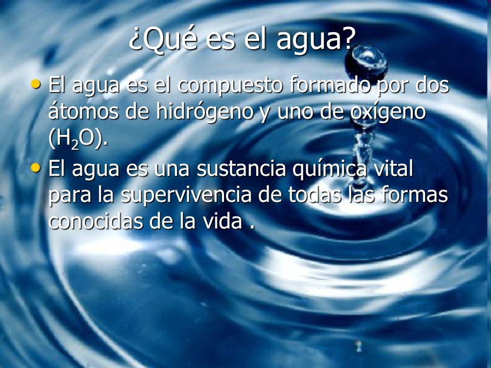 ¿Qué es el agua? El agua es el compuesto formado por dos átomos de hidrógeno y uno de oxígeno (H 2 O). El agua es el compuesto formado por dos átomos