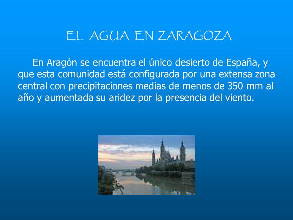 EL AGUA EN ZARAGOZA En Aragón se encuentra el único desierto de España, y que esta comunidad está configurada por una extensa zona central con precipi
