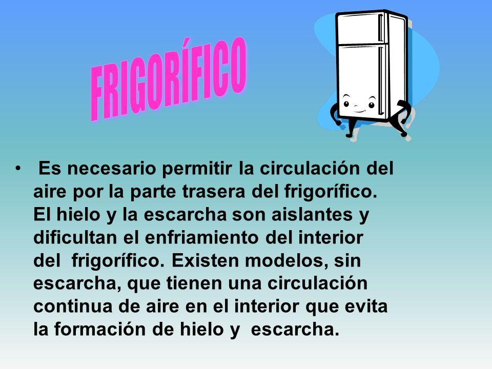 Es necesario permitir la circulación del aire por la parte trasera del frigorífico. El hielo y la escarcha son aislantes y dificultan el enfriamiento