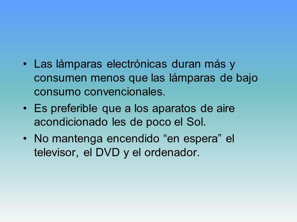 Las lámparas electrónicas duran más y consumen menos que las lámparas de bajo consumo convencionales. Es preferible que a los aparatos de aire acondic