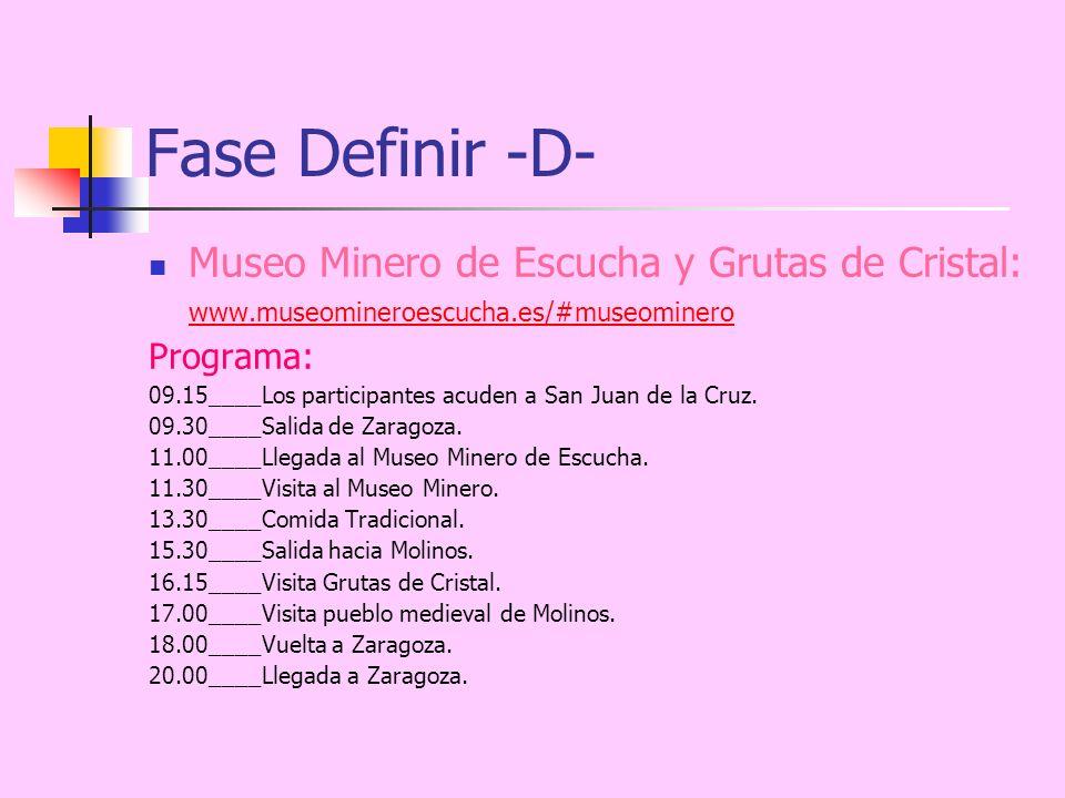 Fase Definir -D- Museo Minero de Escucha y Grutas de Cristal: www.museomineroescucha.es/#museominero www.museomineroescucha.es/#museominero Programa: 09.15____Los participantes acuden a San Juan de la Cruz.