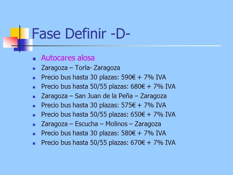 Fase Definir -D- Autocares alosa Zaragoza – Torla- Zaragoza Precio bus hasta 30 plazas: 590 + 7% IVA Precio bus hasta 50/55 plazas: 680 + 7% IVA Zaragoza – San Juan de la Peña – Zaragoza Precio bus hasta 30 plazas: 575 + 7% IVA Precio bus hasta 50/55 plazas: 650 + 7% IVA Zaragoza – Escucha – Molinos – Zaragoza Precio bus hasta 30 plazas: 580 + 7% IVA Precio bus hasta 50/55 plazas: 670 + 7% IVA