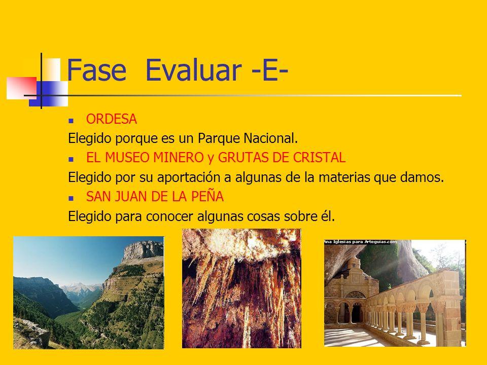Fase Evaluar -E- ORDESA Elegido porque es un Parque Nacional.