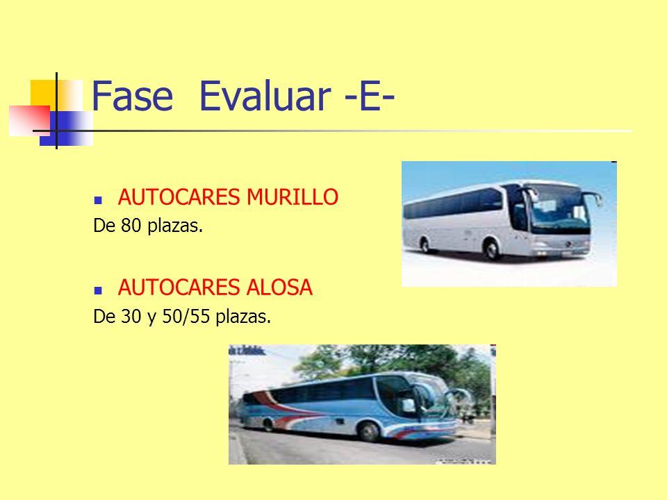 Fase Evaluar -E- AUTOCARES MURILLO De 80 plazas. AUTOCARES ALOSA De 30 y 50/55 plazas.