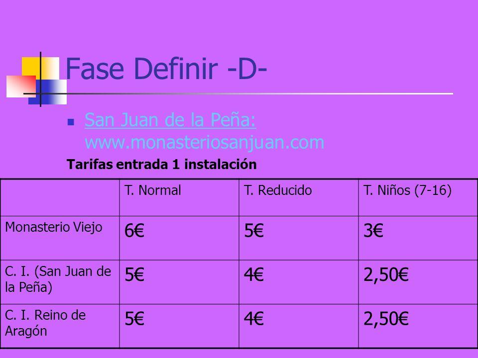Fase Definir -D- San Juan de la Peña: www.monasteriosanjuan.com Tarifas entrada 1 instalación T.