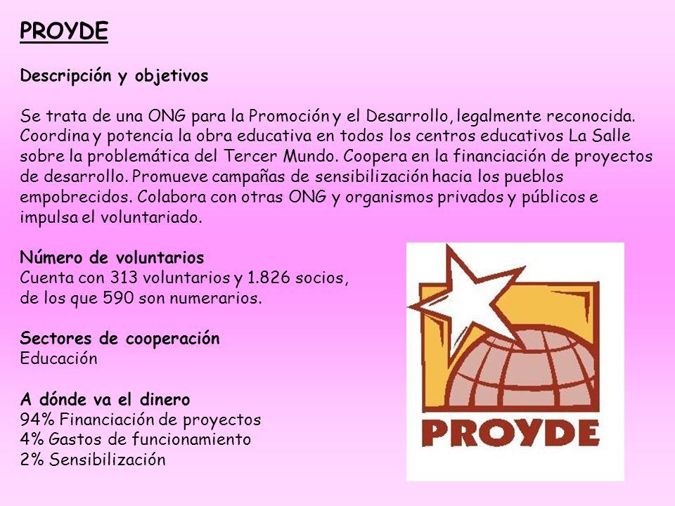 PROYDE Descripción y objetivos Se trata de una ONG para la Promoción y el Desarrollo, legalmente reconocida. Coordina y potencia la obra educativa en