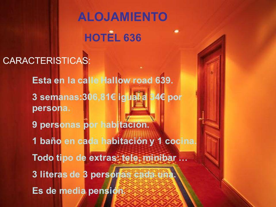 ALOJAMIENTO HOTEL 636 CARACTERISTICAS: Esta en la calle Hallow road 639. 3 semanas:306,81 igual a 34 por persona. 9 personas por habitación. 1 baño en