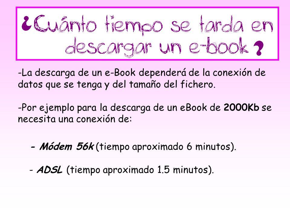 -L-La descarga de un e-Book dependerá de la conexión de datos que se tenga y del tamaño del fichero. -P-Por ejemplo para la descarga de un eBook de 20