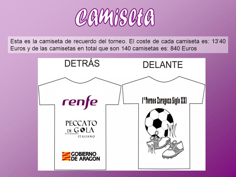 Esta es la camiseta de recuerdo del torneo. El coste de cada camiseta es: 1340 Euros y de las camisetas en total que son 140 camisetas es: 840 Euros