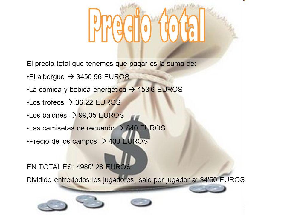 El precio total que tenemos que pagar es la suma de: El albergue 3450,96 EUROS La comida y bebida energética 1536 EUROS Los trofeos 36,22 EUROS Los ba