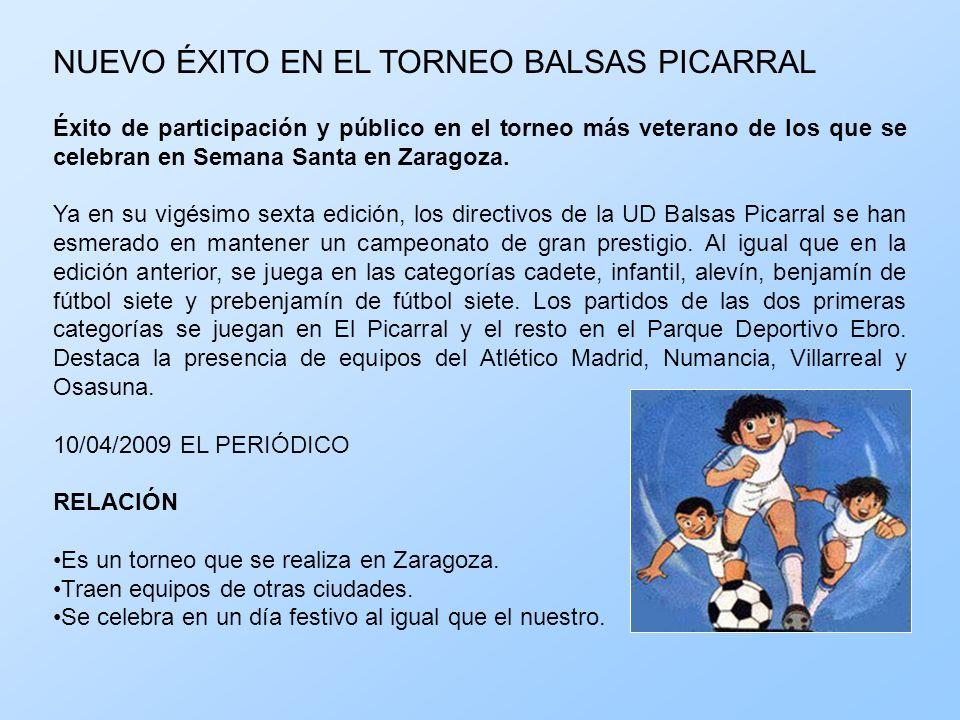 NUEVO ÉXITO EN EL TORNEO BALSAS PICARRAL Éxito de participación y público en el torneo más veterano de los que se celebran en Semana Santa en Zaragoza