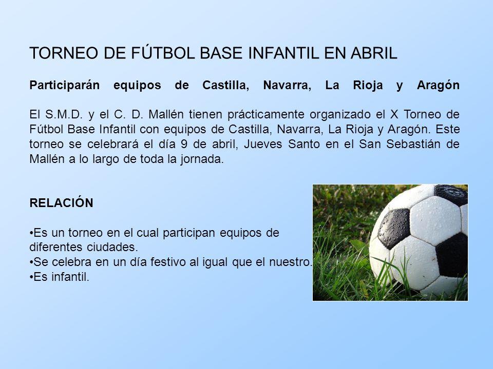 TORNEO DE FÚTBOL BASE INFANTIL EN ABRIL Participarán equipos de Castilla, Navarra, La Rioja y Aragón El S.M.D. y el C. D. Mallén tienen prácticamente