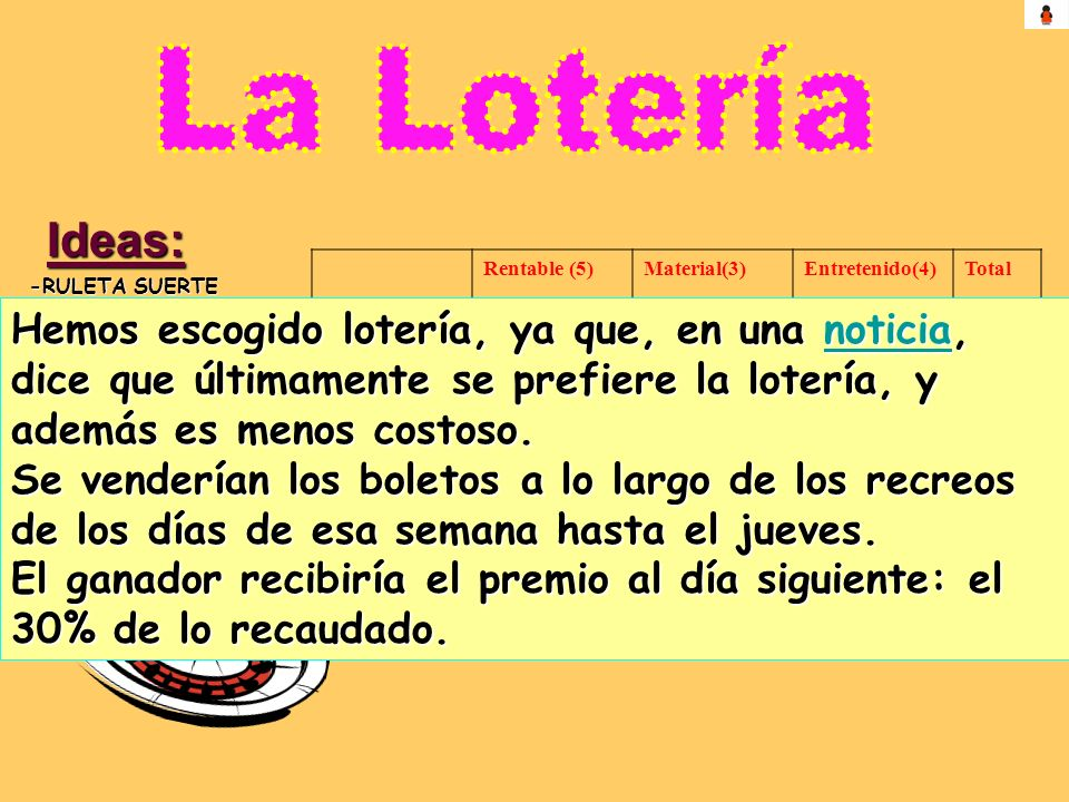 Ideas: -RULETA SUERTE -LOTERIA-BINGO -TIRO A LAS BOTELLAS -EXPLOTAR GLOBOS -PISTOLAS DE AGUA Rentable (5)Material(3)Entretenido(4)Total Ruleta de la s