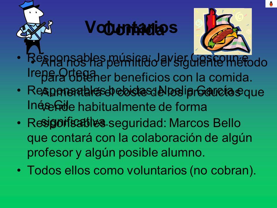Voluntarios Responsables música: Javier Coscolín e Irene Ortega Responsables bebidas: Noelia García e Inés Gil Responsables seguridad: Marcos Bello qu