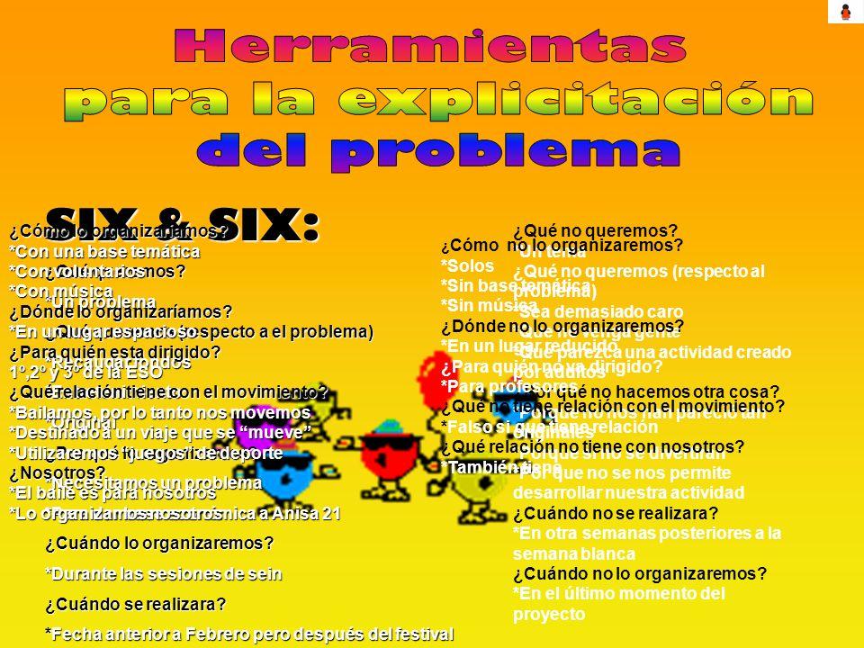 SIX & SIX: ¿Qué queremos? *Un problema ¿Qué queremos (respecto a el problema) *Recaudar fondos *Entretenimiento*Original ¿Por qué lo organizamos? *Nec