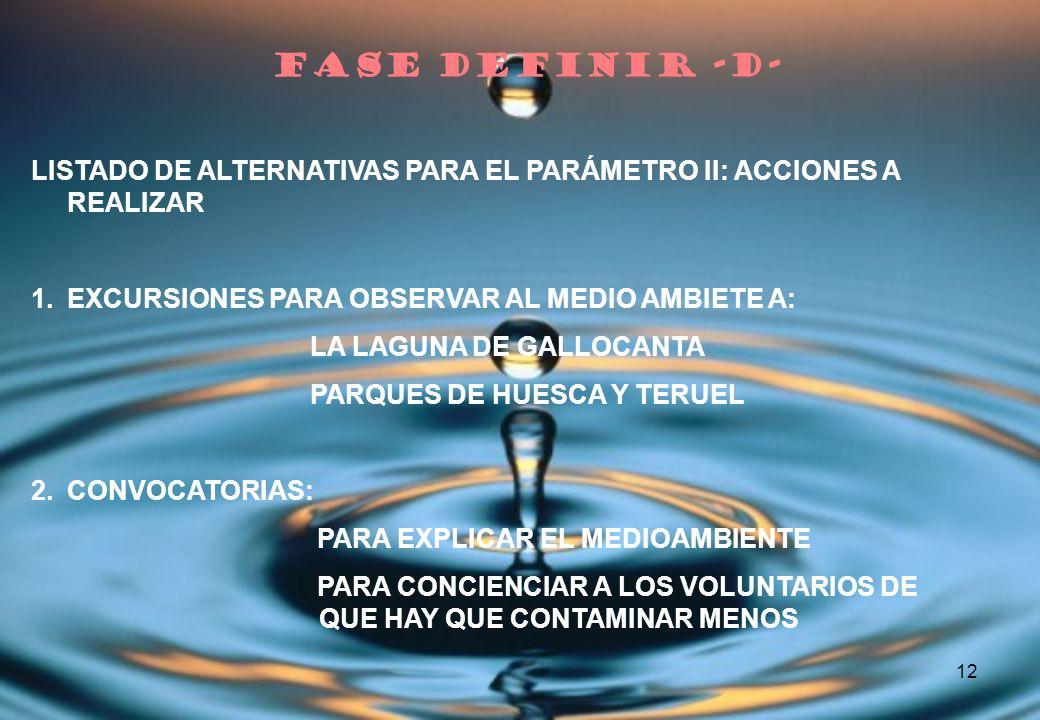 12 LISTADO DE ALTERNATIVAS PARA EL PARÁMETRO II: ACCIONES A REALIZAR 1.EXCURSIONES PARA OBSERVAR AL MEDIO AMBIETE A: LA LAGUNA DE GALLOCANTA PARQUES D