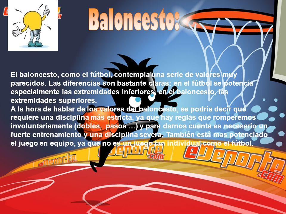 El baloncesto, como el fútbol, contempla una serie de valores muy parecidos. Las diferencias son bastante claras: en el fútbol se potencia especialmen