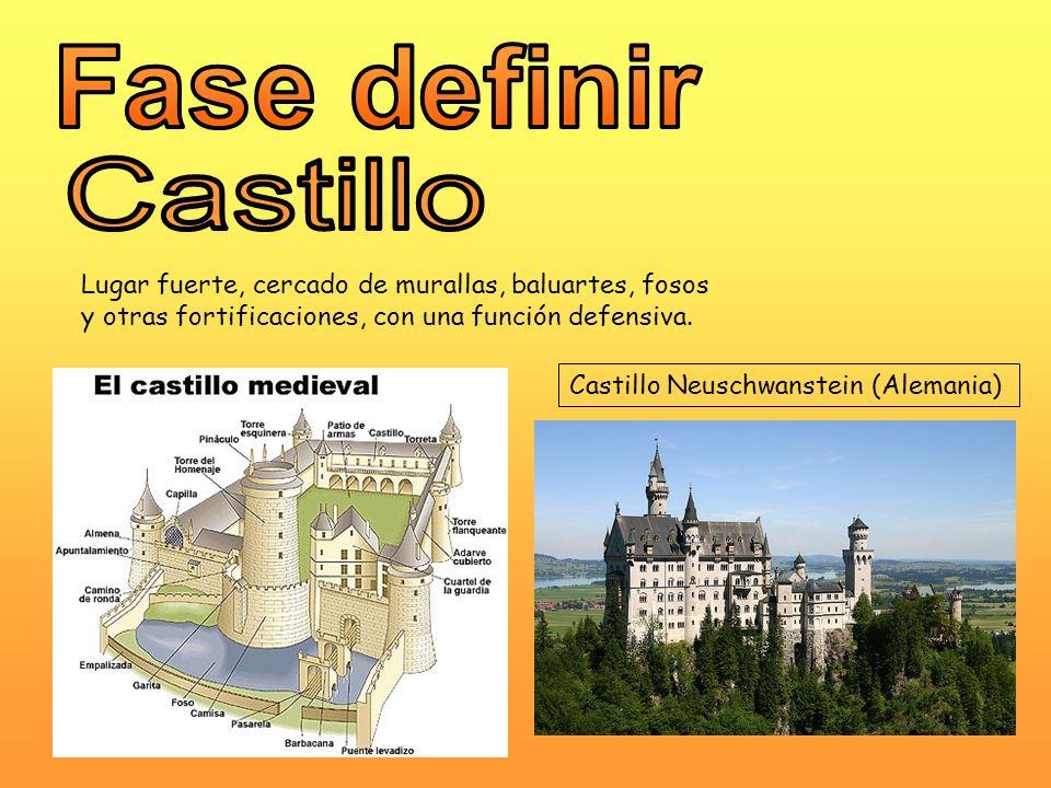 Lugar fuerte, cercado de murallas, baluartes, fosos y otras fortificaciones, con una función defensiva. Castillo Neuschwanstein (Alemania)