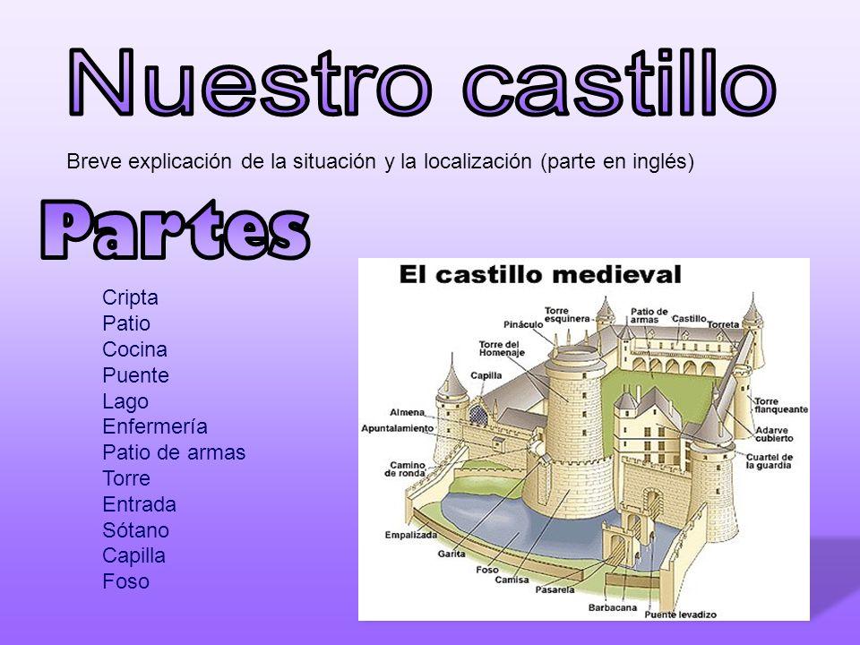 Breve explicación de la situación y la localización (parte en inglés) Cripta Patio Cocina Puente Lago Enfermería Patio de armas Torre Entrada Sótano C