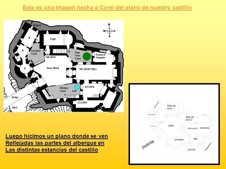 Esta es una imagen hecha a Corel del plano de nuestro castillo Luego hicimos un plano donde se ven Reflejadas las partes del albergue en Las distintas