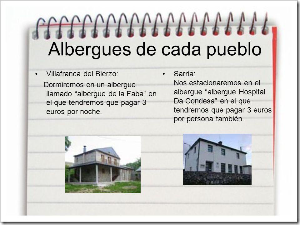 Albergues de cada pueblo Villafranca del Bierzo: Dormiremos en un albergue llamado albergue de la Faba en el que tendremos que pagar 3 euros por noche