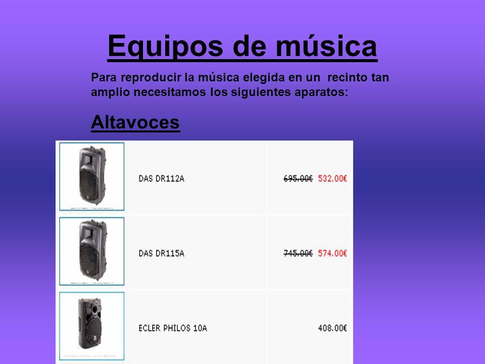 Equipos de música Para reproducir la música elegida en un recinto tan amplio necesitamos los siguientes aparatos: Altavoces