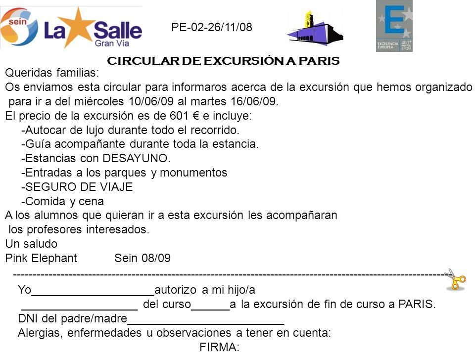 Queridas familias: Os enviamos esta circular para informaros acerca de la excursión que hemos organizado para ir a del miércoles 10/06/09 al martes 16