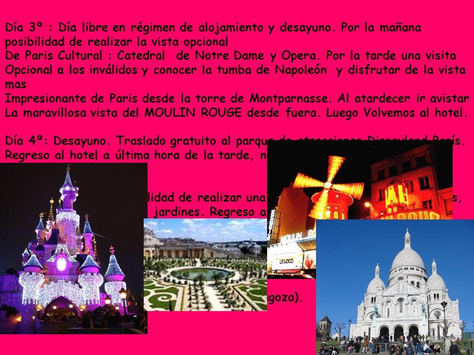 Día 3º : Día libre en régimen de alojamiento y desayuno. Por la mañana posibilidad de realizar la vista opcional De Paris Cultural : Catedral de Notre