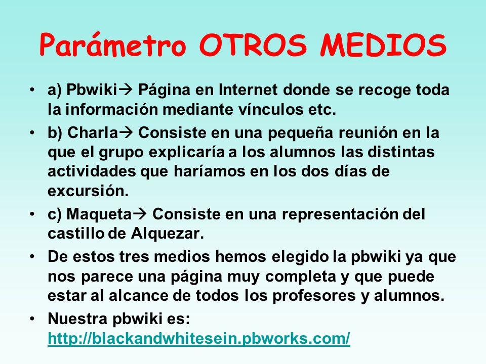 Parámetro OTROS MEDIOS a) Pbwiki Página en Internet donde se recoge toda la información mediante vínculos etc. b) Charla Consiste en una pequeña reuni