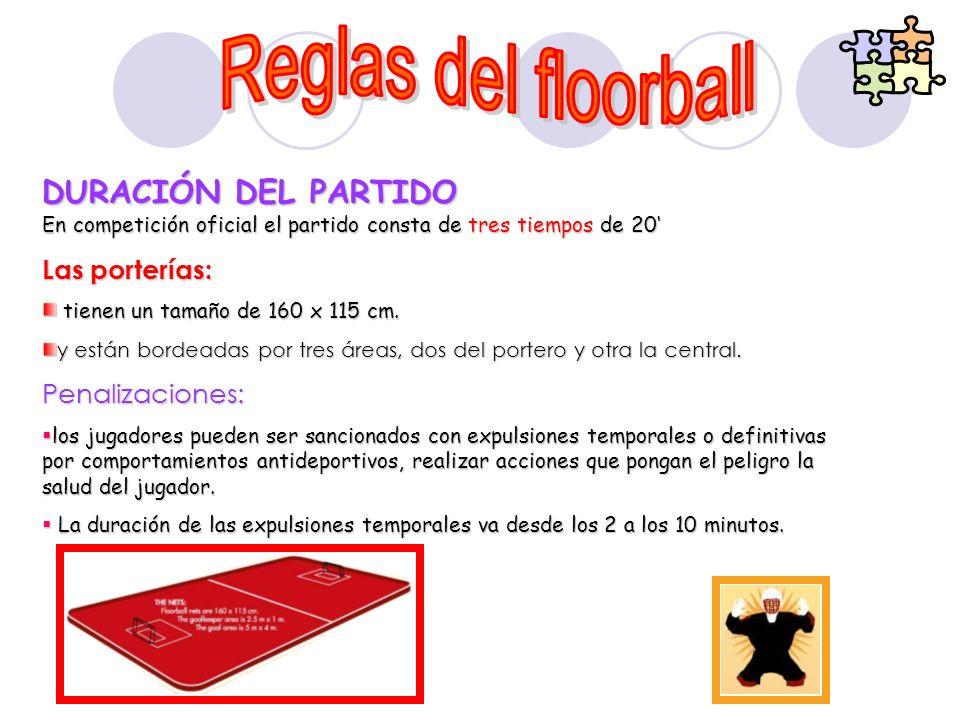 DURACIÓN DEL PARTIDO En competición oficial el partido consta de tres tiempos de 20 Las porterías: tienen un tamaño de 160 x 115 cm. tienen un tamaño