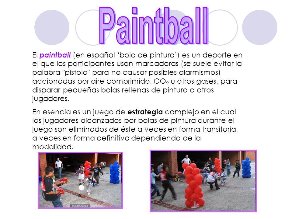 El paintball (en español bola de pintura) es un deporte en el que los participantes usan marcadoras (se suele evitar la palabra