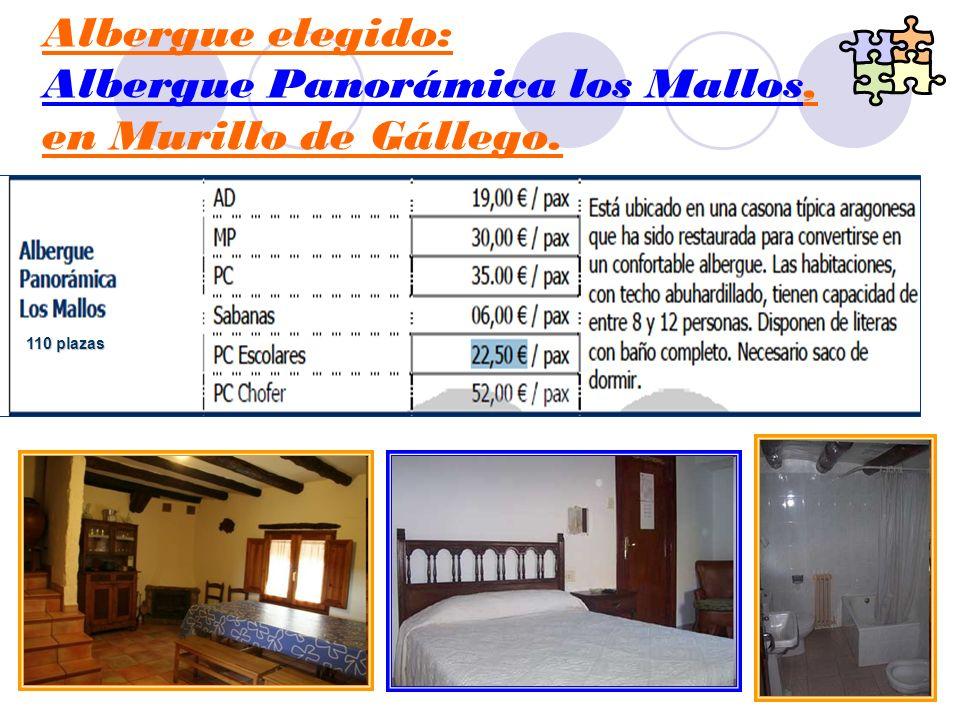 Albergue elegido: Albergue Panorámica los Mallos, en Murillo de Gállego. 110 plazas