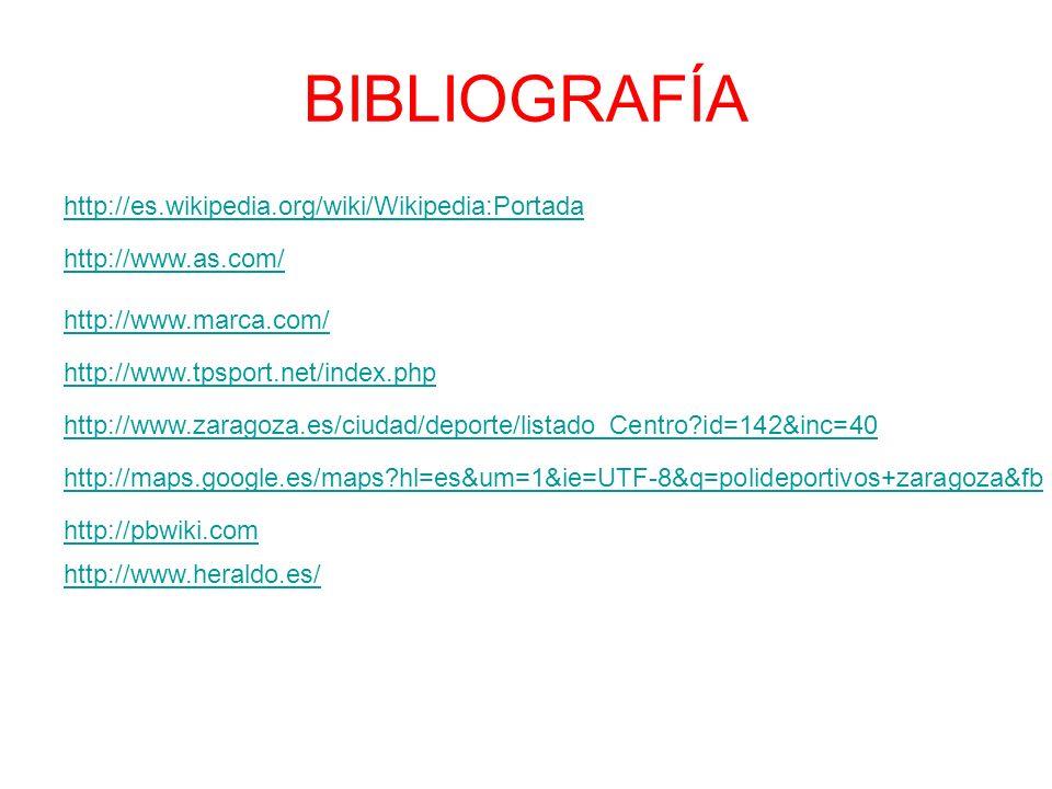 BIBLIOGRAFÍA http://es.wikipedia.org/wiki/Wikipedia:Portada http://www.as.com/ http://www.marca.com/ http://www.tpsport.net/index.php http://www.zaragoza.es/ciudad/deporte/listado_Centro id=142&inc=40 http://maps.google.es/maps hl=es&um=1&ie=UTF-8&q=polideportivos+zaragoza&fb http://pbwiki.com http://www.heraldo.es/