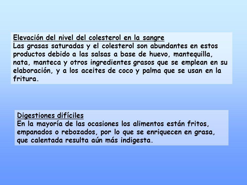 Elevación del nivel del colesterol en la sangre Las grasas saturadas y el colesterol son abundantes en estos productos debido a las salsas a base de h