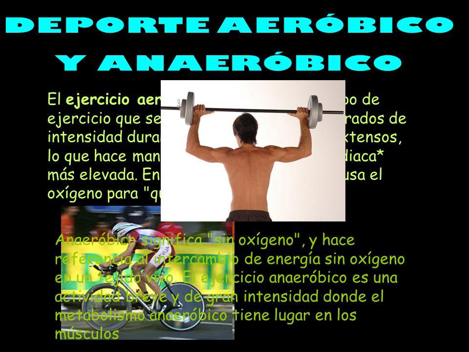 El ejercicio aeróbico incluye cualquier tipo de ejercicio que se practique a niveles moderados de intensidad durante periodos de tiempo extensos, lo q