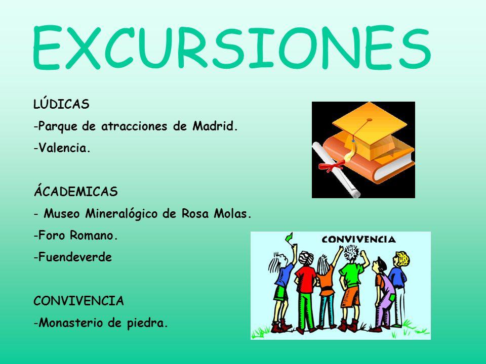 EXCURSIONES LÚDICAS -P-Parque de atracciones de Madrid. -V-Valencia. ÁCADEMICAS - Museo Mineralógico de Rosa Molas. -F-Foro Romano. -F-Fuendeverde CON