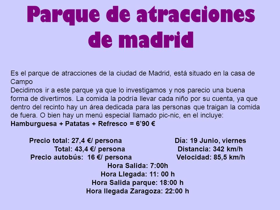 Es el parque de atracciones de la ciudad de Madrid, está situado en la casa de Campo Decidimos ir a este parque ya que lo investigamos y nos parecio u